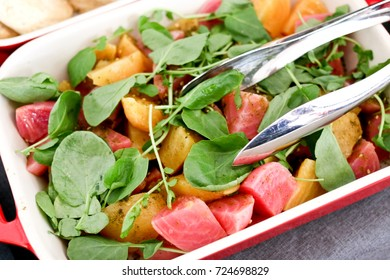 fresh beats and fruit salad for an appetizer