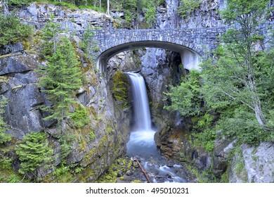 Fresh and beautiful Christine waterfalls long exposure view in Summer, Mt Rainier National Park USA