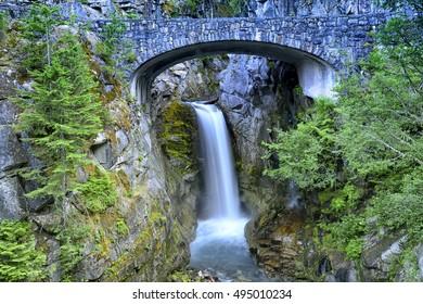 Fresh and beautiful Christine waterfalls long exposure view 2, Mt Rainier National Park USA