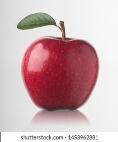 fresh and beautiful red apple on white background