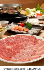 Fresh Beef, pork slices and seafood for Sukiyaki