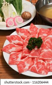 Fresh Beef and pork slices for Shabu shabu and Sukiyaki