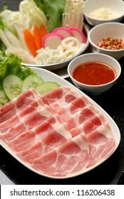 Fresh Beef and pork slices for  Sukiyaki