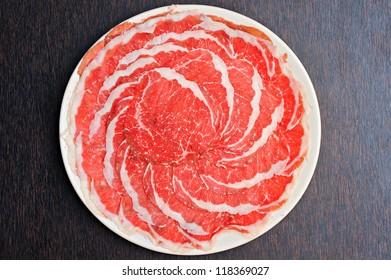Fresh Beef and pork slices for Sukiyaki japanese food