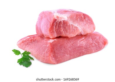 Fresh beef slab isolated on a white background