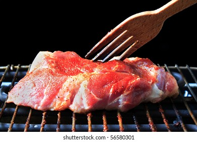 fresh beef steak on the grill