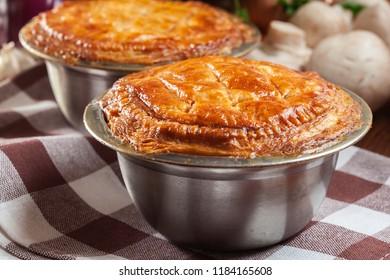 Fresh beef stew pie on a baking casserole