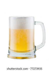 Fresh beer with foam, isolated on white