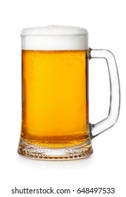 fresh beer mug with foam and bubbles isolated on white background