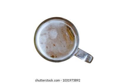Fresh beer in mug isolated on background