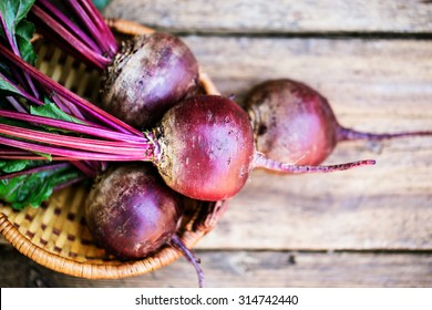 Fresh beet on wooden background