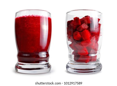 Fresh beetroot smoothie in glass isolated on white background. Detox food.