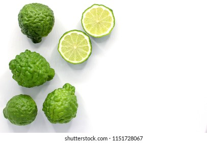 Fresh Bergamot fruit isolated on white background with copy space