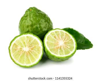 fresh bergamot fruit, Kaffir Lime, Citrus bergamia with leaf isolated on white background