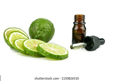 fresh bergamot fruit, Kaffir Lime, Citrus bergamia with leaf isolated on white background. Bergamot citrus fruit essential oil or aromatherapy oil natural. organic cosmetic concept