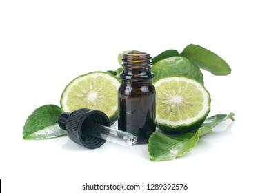 fresh bergamot fruit, Kaffir Lime, Citrus bergamia with leaf isolated on white background. Bergamot citrus fruit essential oil or aromatherapy oil natural. organic cosmetic concept