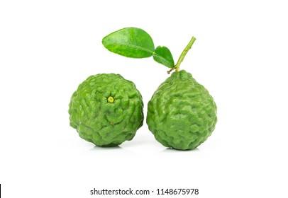 fresh bergamot fruit with leaf isolated on white background.