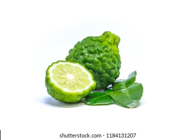 Fresh bergamot fruit with leaf isolated on white background.Bergamot is a food and Thai herbs.