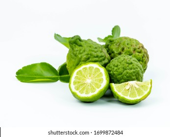fresh bergamot fruit with leaf isolated on white background, Thai Herb