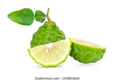 Fresh bergamot fruit with leaf slice isolated on white background,clipping path.