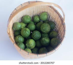 Fresh bergamot fruit on white background.