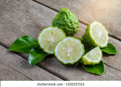 fresh bergamot fruit on wooden table background