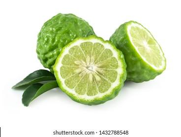 Fresh bergamot fruit slice with green leaf isolated on white background, herb and medical