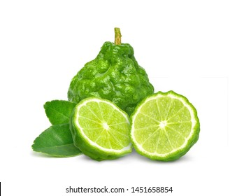 Fresh Bergamot fruits with cut in half and green leaf isolated on white background.