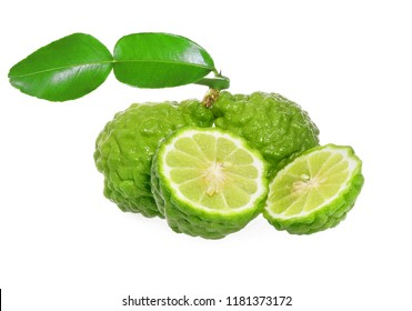Fresh bergamot or kaffir have seeds with leaf isolated on white background.