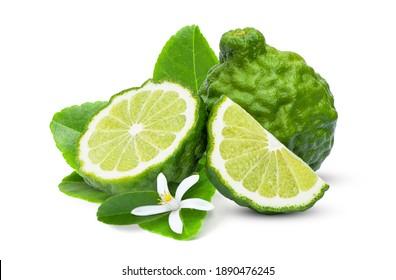 Fresh bergamot or kaffir lime fruit with flower and green leaf isolated on white background.