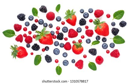 Fresh berries isolated on white background, top view. Strawberry, Raspberry, Cranberry, Blackberry, Blueberry and Mint leaf, flat lay