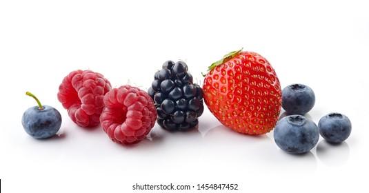 fresh berries isolated on white background, full depth of field