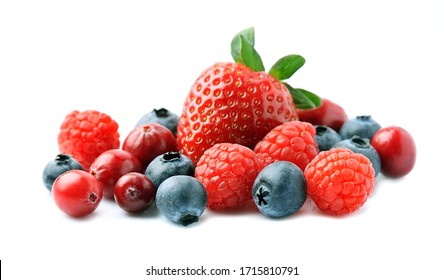 Fresh berries isolated on white backgrounds. - Shutterstock ID 1715810791