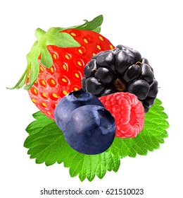 Fresh berries isolated on white background. Sweet Strawberry, Blueberry, Blackberry, Raspberry;