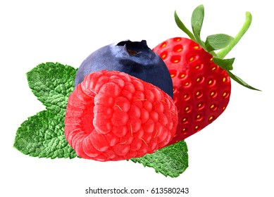 Fresh berries with mint leaves isolated on white background. Ripe sweet Strawberry, Raspberry, Blueberry