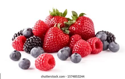 Fresh Berries on the White Background. Ripe Sweet Strawberry, Raspberry, Blueberry, Blackberry