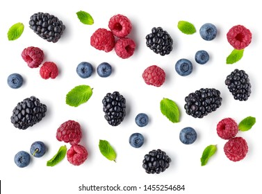 fresh berries pattern isolated on white background, top view