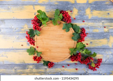 fresh berries of red viburnum on a wooden background,an empty plate for text