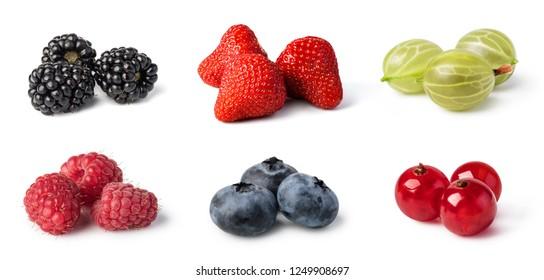 Fresh berries set isolated on white background.
