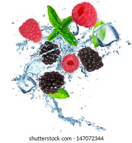 Fresh berries in water splash. Isolated on white background.