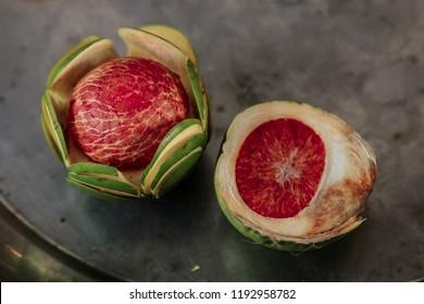 fresh betel nut betel palm on betel leaf isolated