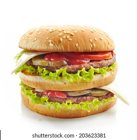 fresh big burger on a white background