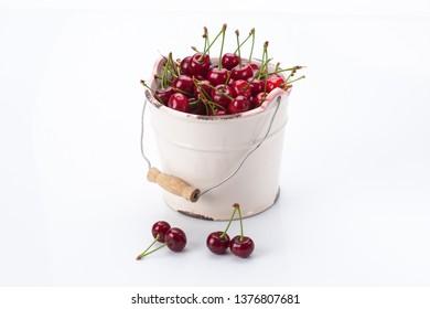 Fresh bird cherry in bowl