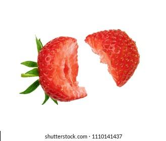 Fresh bitten strawberry on a white background