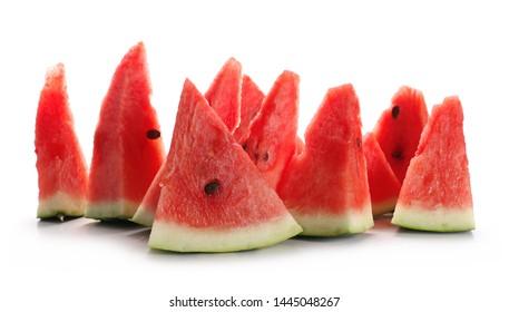 Fresh bitten watermelon slices isolated on white background