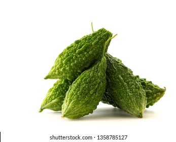 Fresh bitter gourd isolated on white background, Natural food concept for safe health