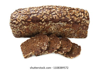 Fresh black bread with seeds isolated on white background.