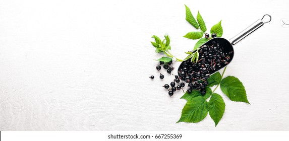 Fresh black currants on a wooden background. Top view. Free space.