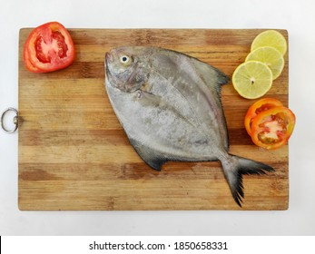 Fresh Black Pomfret Fish decorated with lemon slices and tomato  slice on a  wooden pad,white background.