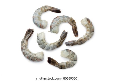 Fresh black tiger shrimp tails on white background
